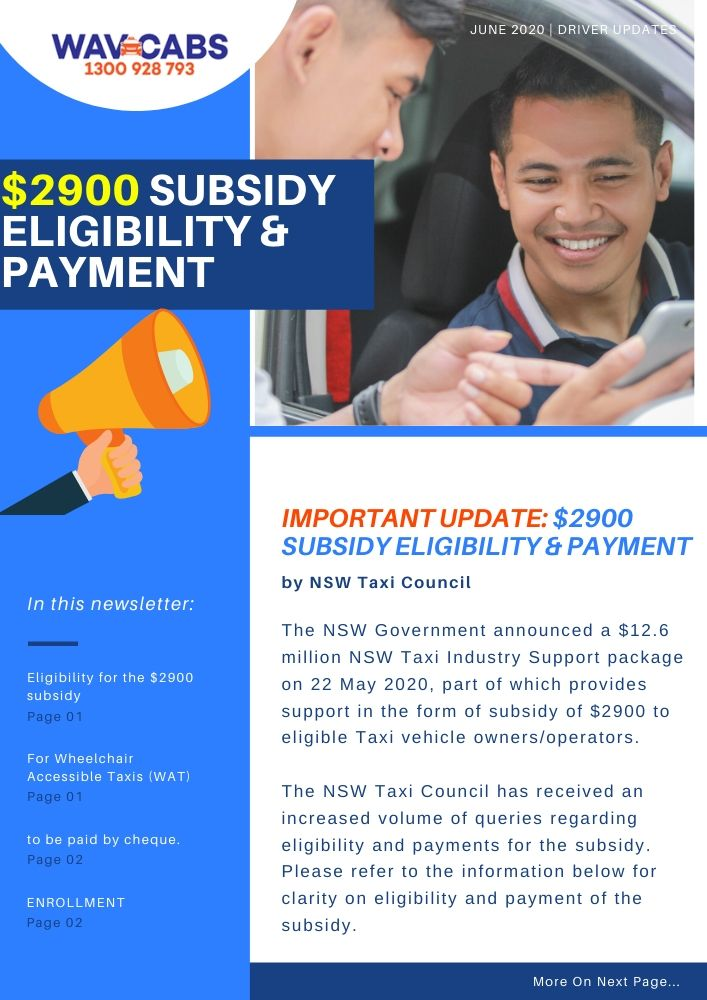 $2900 subsidy by taxi council nsw